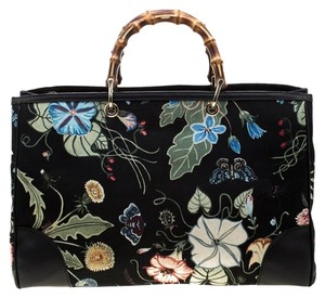 Gucci Canvas Leather Tote in Black