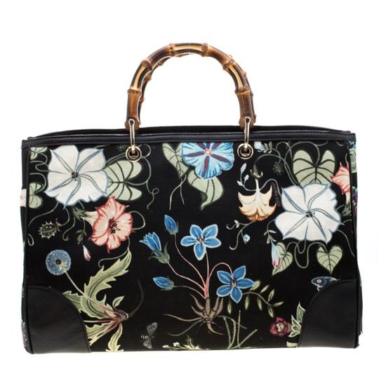 Gucci Canvas Leather Tote in Black Image 1