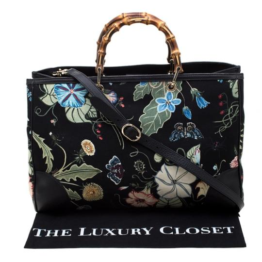 Gucci Canvas Leather Tote in Black Image 11