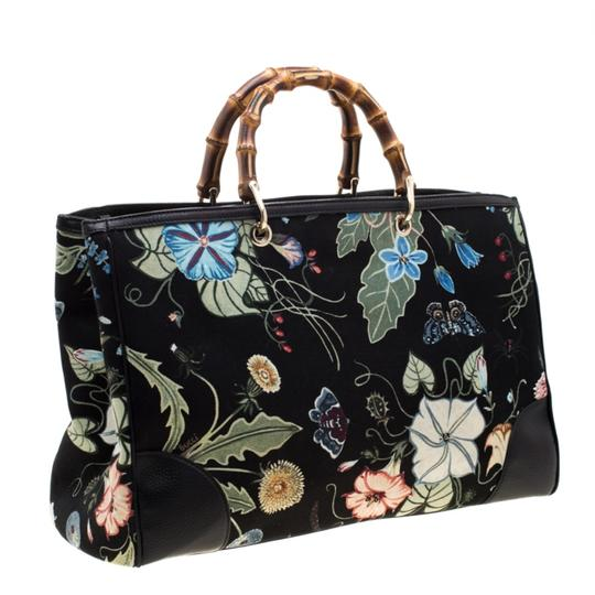 Gucci Canvas Leather Tote in Black Image 3