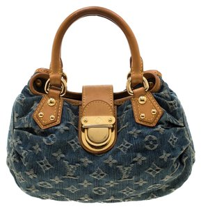 Louis Vuitton Denim Leather Satchel in Blue