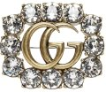 Gucci Gold Tone Gg Logo Crystal Brooch