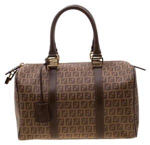 Fendi Leather Coated Canvas Satchel in Brown