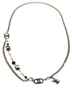 Chanel CC Bead Faux Pearl Gold Tone Chain Link Necklace / Belt