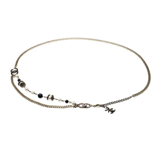 Chanel CC Bead Faux Pearl Gold Tone Chain Link Necklace / Belt Image 1