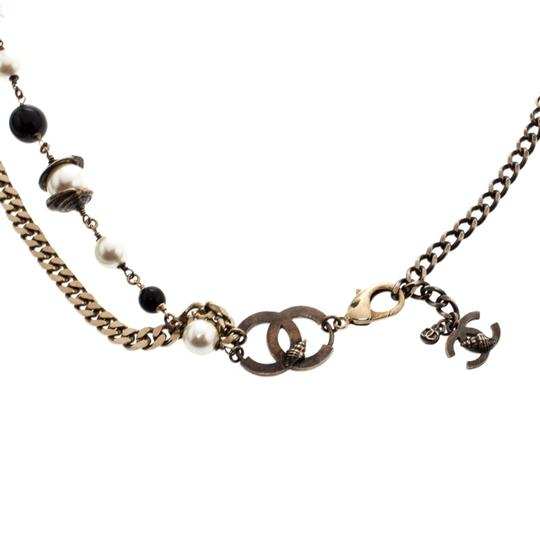 Chanel CC Bead Faux Pearl Gold Tone Chain Link Necklace / Belt Image 2