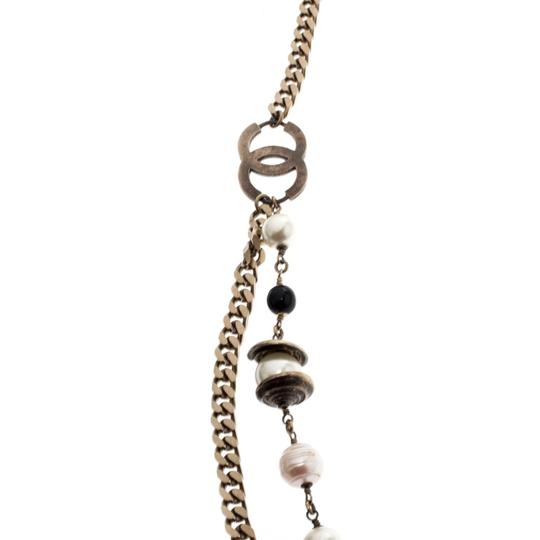 Chanel CC Bead Faux Pearl Gold Tone Chain Link Necklace / Belt Image 4