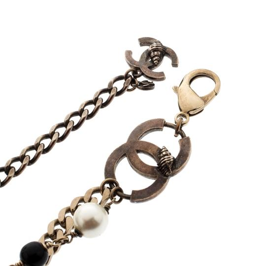 Chanel CC Bead Faux Pearl Gold Tone Chain Link Necklace / Belt Image 5