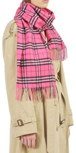 Burberry Burberry Cashmere Bright Pink Tonal Vintage Check Scarf
