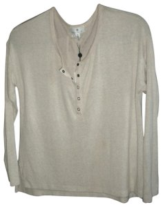 Socialite Lightweight Knit Hacci Henley Cozy Knit T Shirt cream
