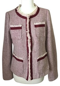 Cynthia Rowley Tweed Boucle Blazer Pink, Red, White Jacket