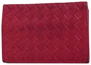 Bottega Veneta red intrecciato leather bifold card ID holder