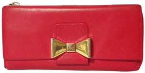 Chloé Red leather bow zip and snap long wallet