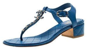 Chanel Leather Thong Blue Sandals