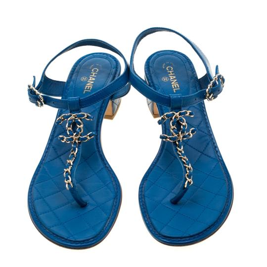 Chanel Leather Thong Blue Sandals Image 1