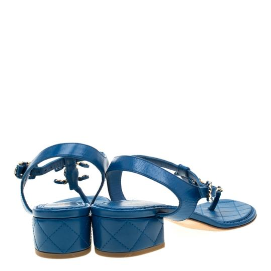 Chanel Leather Thong Blue Sandals Image 2
