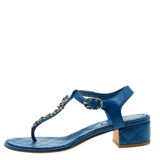 Chanel Leather Thong Blue Sandals Image 3