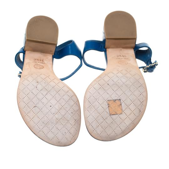Chanel Leather Thong Blue Sandals Image 4