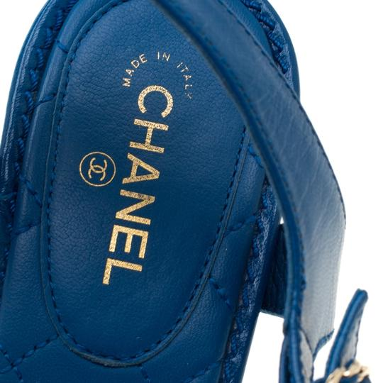 Chanel Leather Thong Blue Sandals Image 6