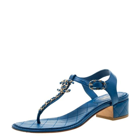 Chanel Leather Thong Blue Sandals Image 7