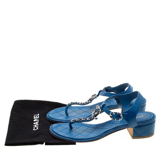 Chanel Leather Thong Blue Sandals Image 8