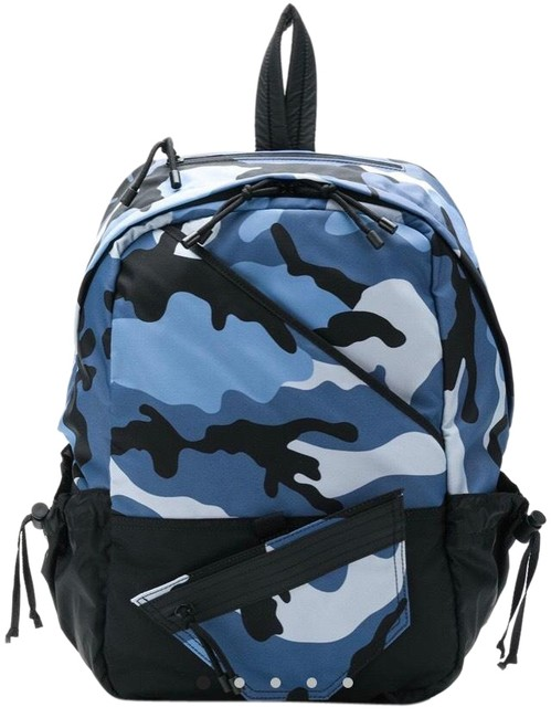 Item - Camouflage Print Camo Blue and Black Polyester Backpack