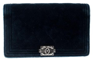 Chanel Chanel Blue Quilted Velvet Boy Long Flap Wallet