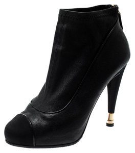 Chanel Leather Fabric Ankle Black Boots