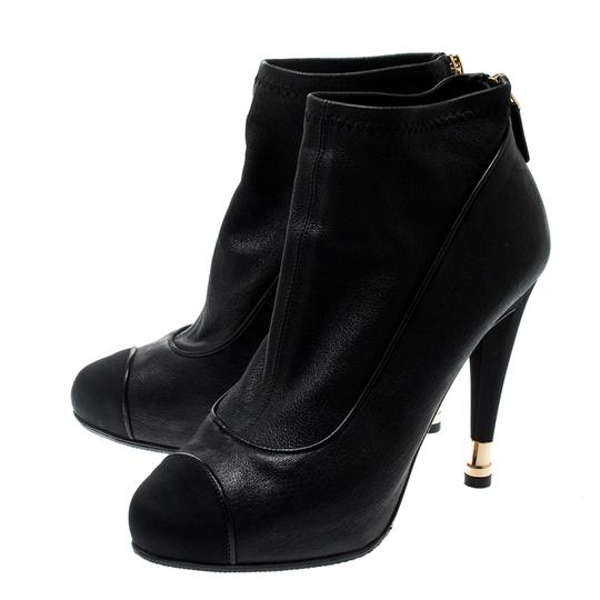 Chanel Leather Fabric Ankle Black Boots Image 4