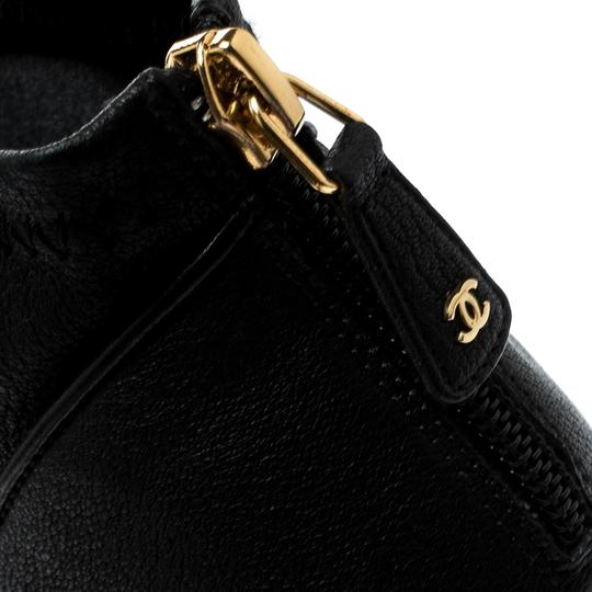 Chanel Leather Fabric Ankle Black Boots Image 5