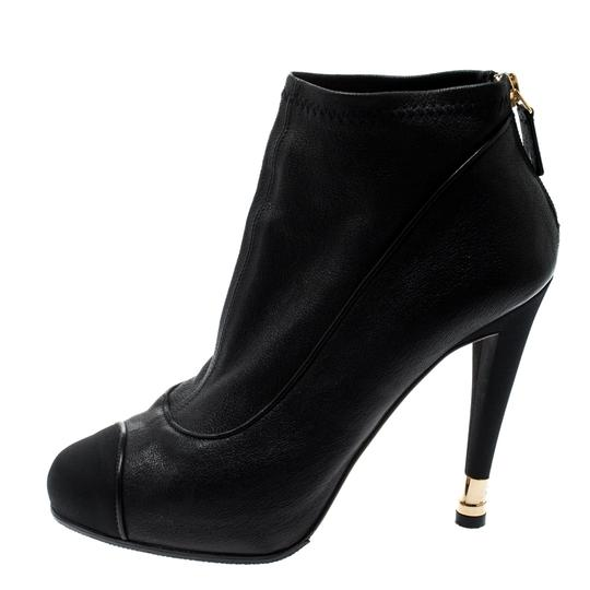 Chanel Leather Fabric Ankle Black Boots Image 6