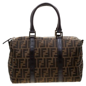Fendi Canvas Boston Satchel in Brown