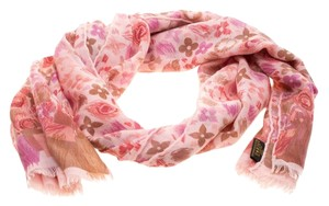 Louis Vuitton Louis Vuitton Pink Printed Cashmere and Silk Shawl