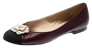Chanel Canvas Leather Ballet Burgundy Flats