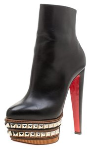 Christian Louboutin Leather Studded Platform Ankle Black Boots