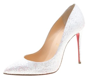 Christian Louboutin Glitter Leather Pigalle White Pumps