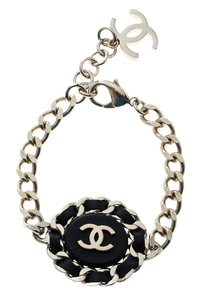 Chanel Chanel CC Black Leather Gold Tone Chain Link Bracelet