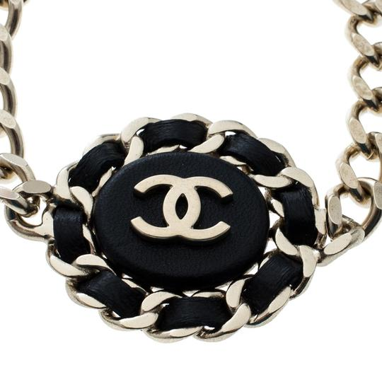 Chanel Chanel CC Black Leather Gold Tone Chain Link Bracelet Image 1