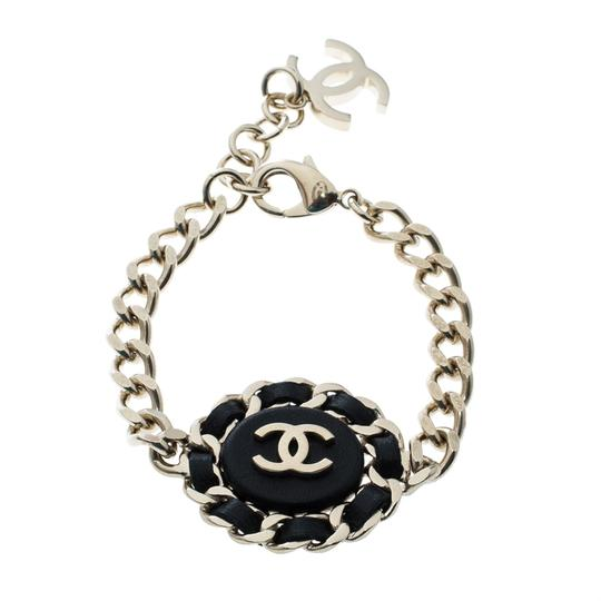 Chanel Chanel CC Black Leather Gold Tone Chain Link Bracelet Image 2