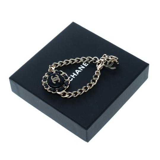Chanel Chanel CC Black Leather Gold Tone Chain Link Bracelet Image 4
