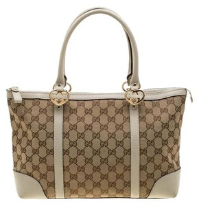 Gucci Canvas Leather Tote in Beige