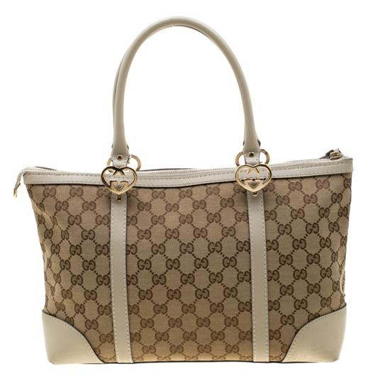 Gucci Canvas Leather Tote in Beige Image 1
