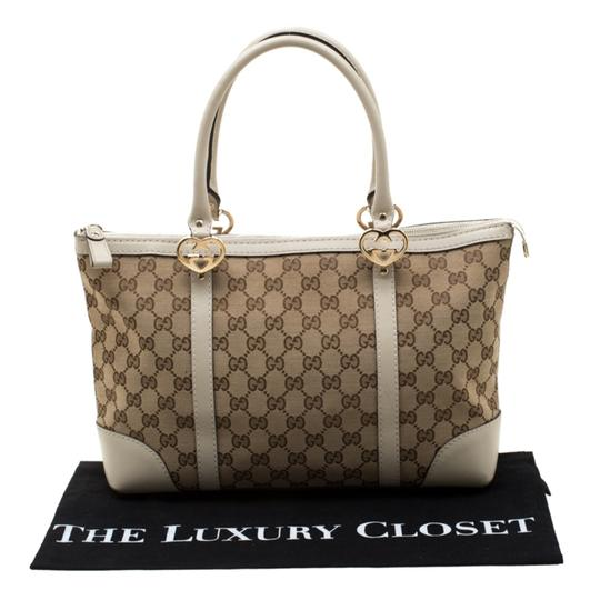 Gucci Canvas Leather Tote in Beige Image 11