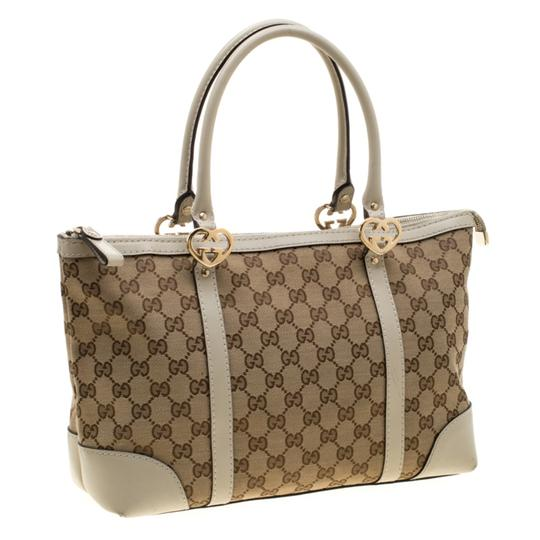 Gucci Canvas Leather Tote in Beige Image 3