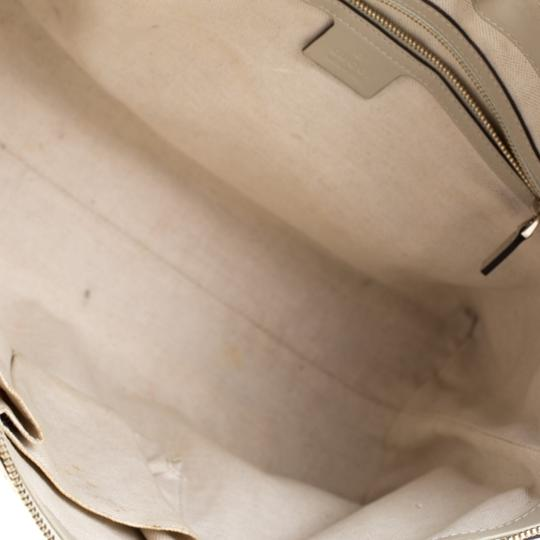 Gucci Canvas Leather Tote in Beige Image 6