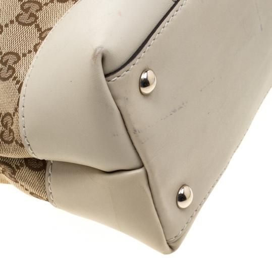 Gucci Canvas Leather Tote in Beige Image 8