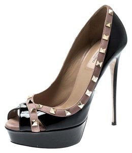 Valentino Patent Leather Peep Toe Leather Black Pumps