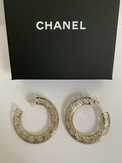 Chanel Chanel CC Logo Round Cut Out Gold Tone Classic Statement Hoop Earrings Image 1