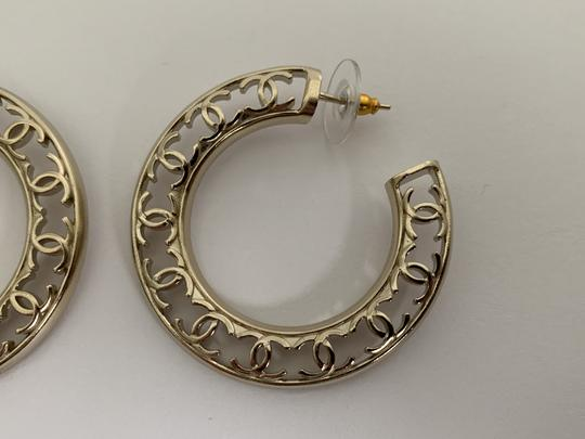 Chanel Chanel CC Logo Round Cut Out Gold Tone Classic Statement Hoop Earrings Image 10