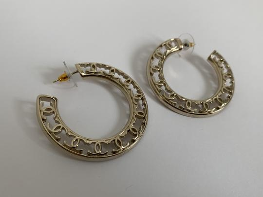 Chanel Chanel CC Logo Round Cut Out Gold Tone Classic Statement Hoop Earrings Image 6